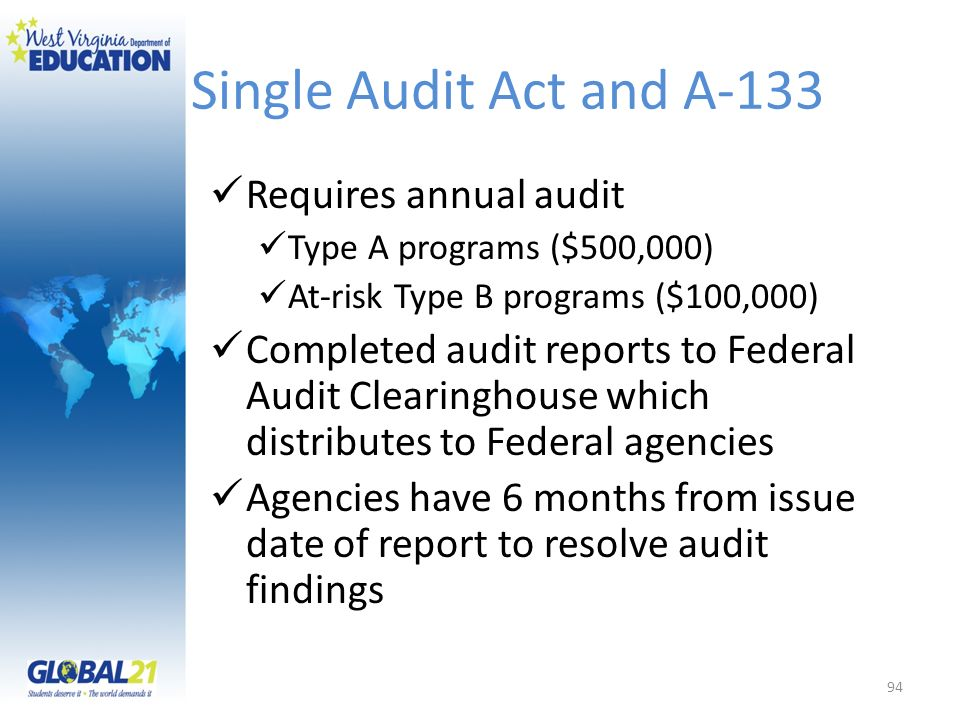 Single Audit Act and A-133 Requires annual audit