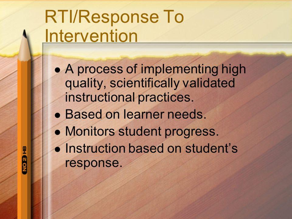 RTI/Response To Intervention