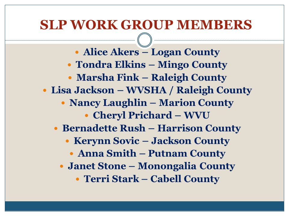 SLP WORK GROUP MEMBERS Alice Akers – Logan County