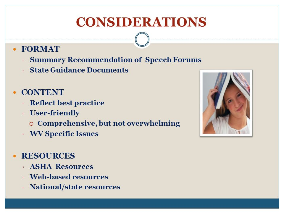 CONSIDERATIONS FORMAT CONTENT RESOURCES