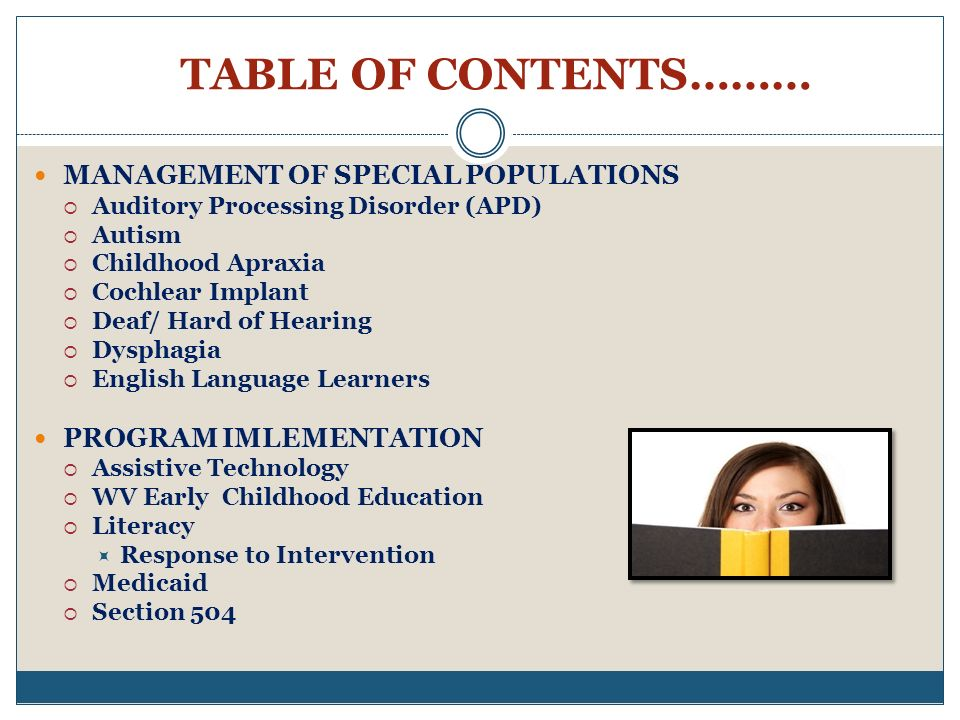 TABLE OF CONTENTS……… MANAGEMENT OF SPECIAL POPULATIONS