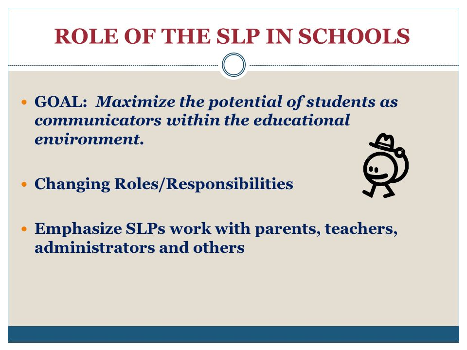 ROLE OF THE SLP IN SCHOOLS