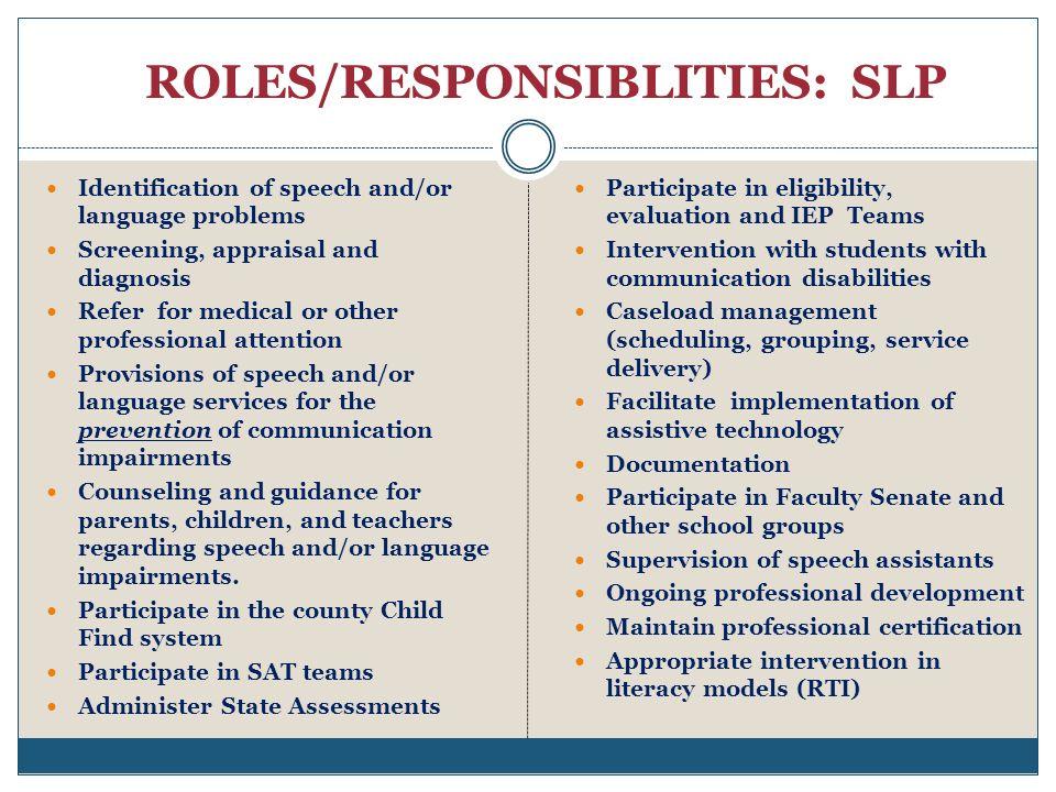 ROLES/RESPONSIBLITIES: SLP
