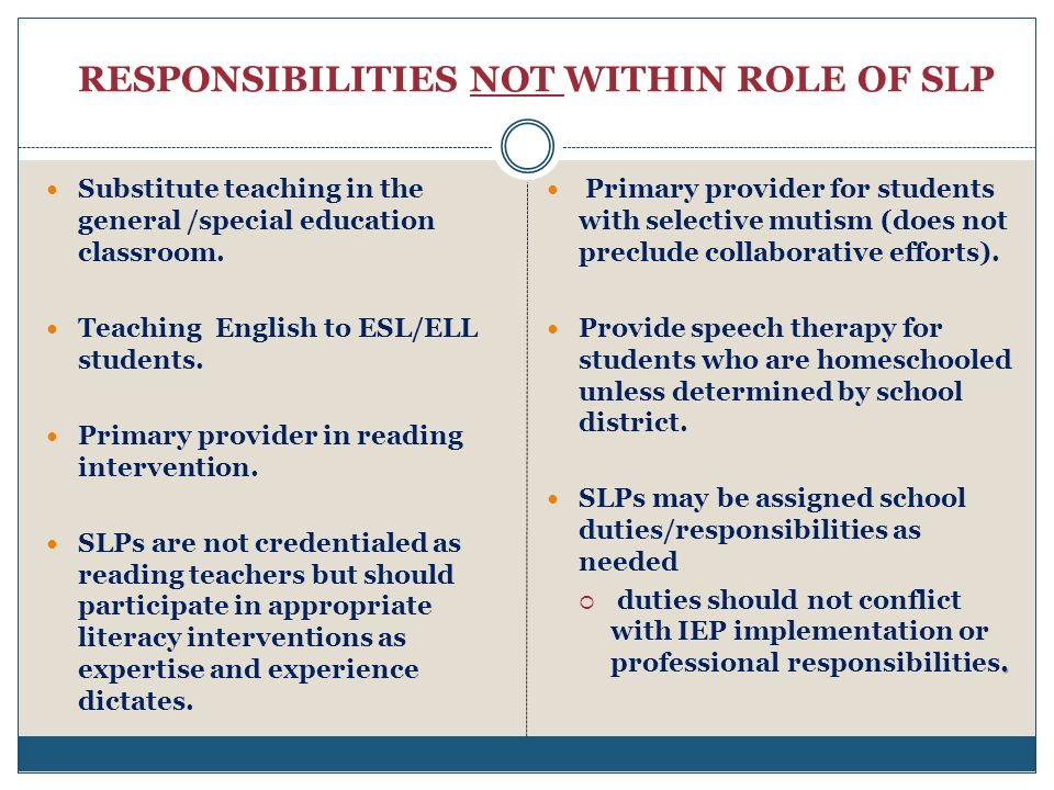 RESPONSIBILITIES NOT WITHIN ROLE OF SLP