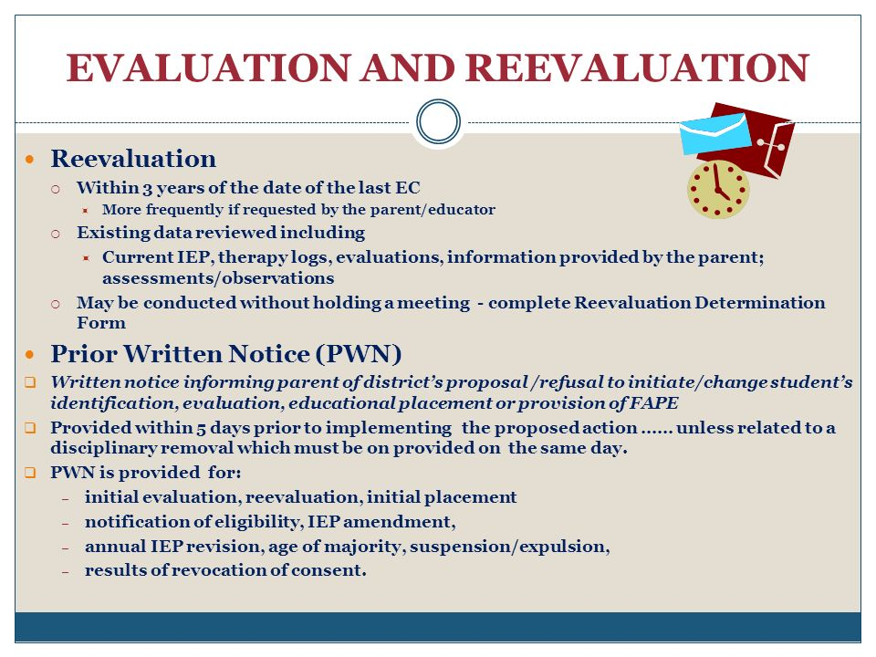 EVALUATION AND REEVALUATION