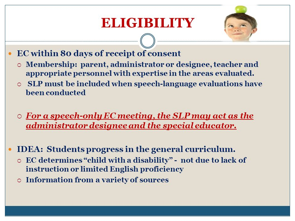ELIGIBILITY EC within 80 days of receipt of consent