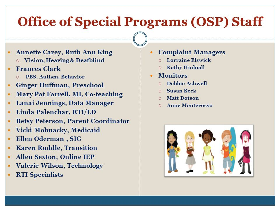 Office of Special Programs (OSP) Staff