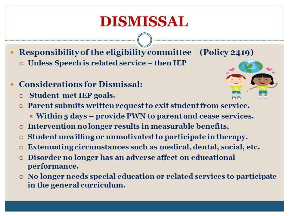 DISMISSAL Responsibility of the eligibility committee (Policy 2419)
