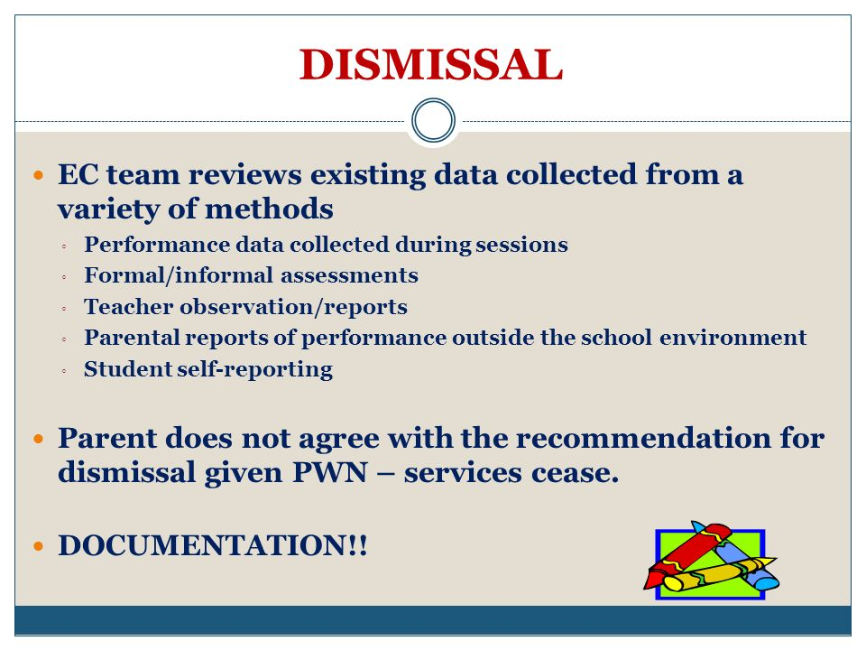 DISMISSAL EC team reviews existing data collected from a variety of methods. Performance data collected during sessions.