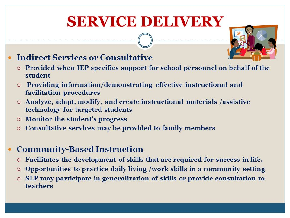 SERVICE DELIVERY Indirect Services or Consultative