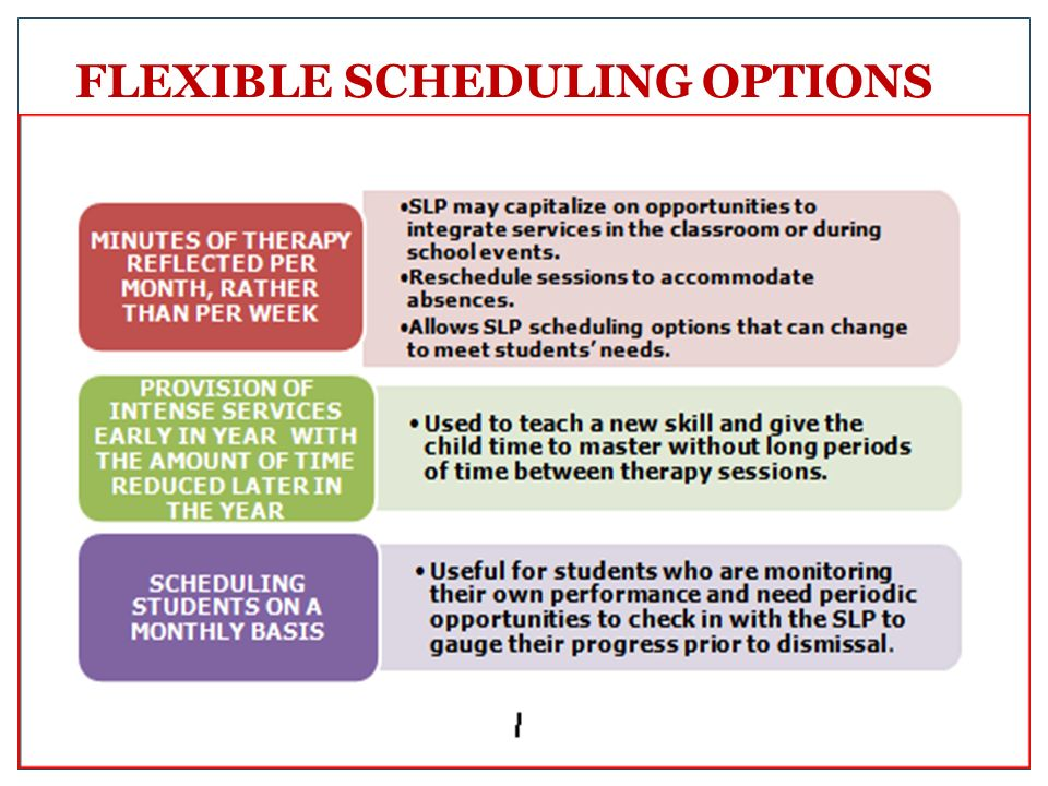 FLEXIBLE SCHEDULING OPTIONS