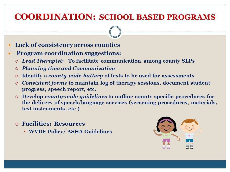 COORDINATION: SCHOOL BASED PROGRAMS