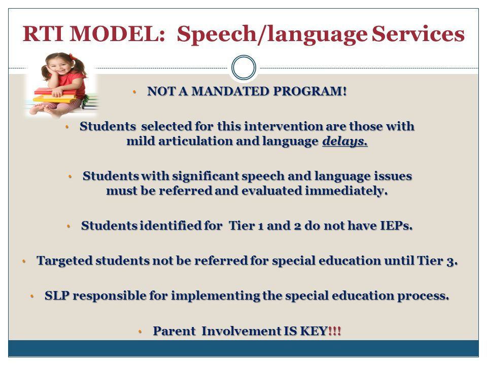 RTI MODEL: Speech/language Services