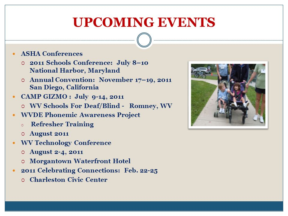 UPCOMING EVENTS ASHA Conferences