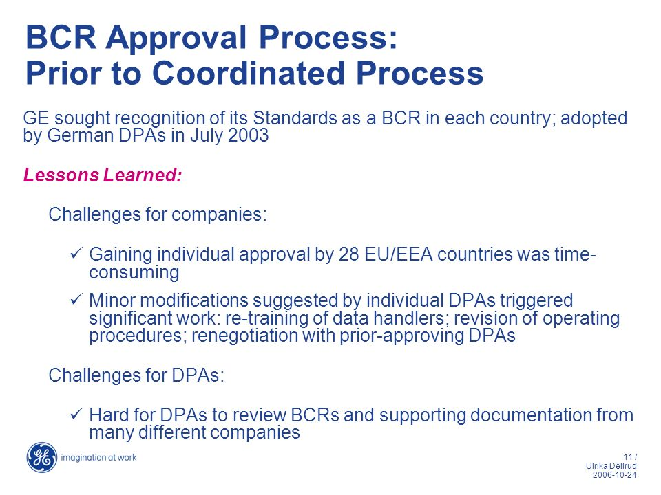 BCR Approval Process: Prior to Coordinated Process