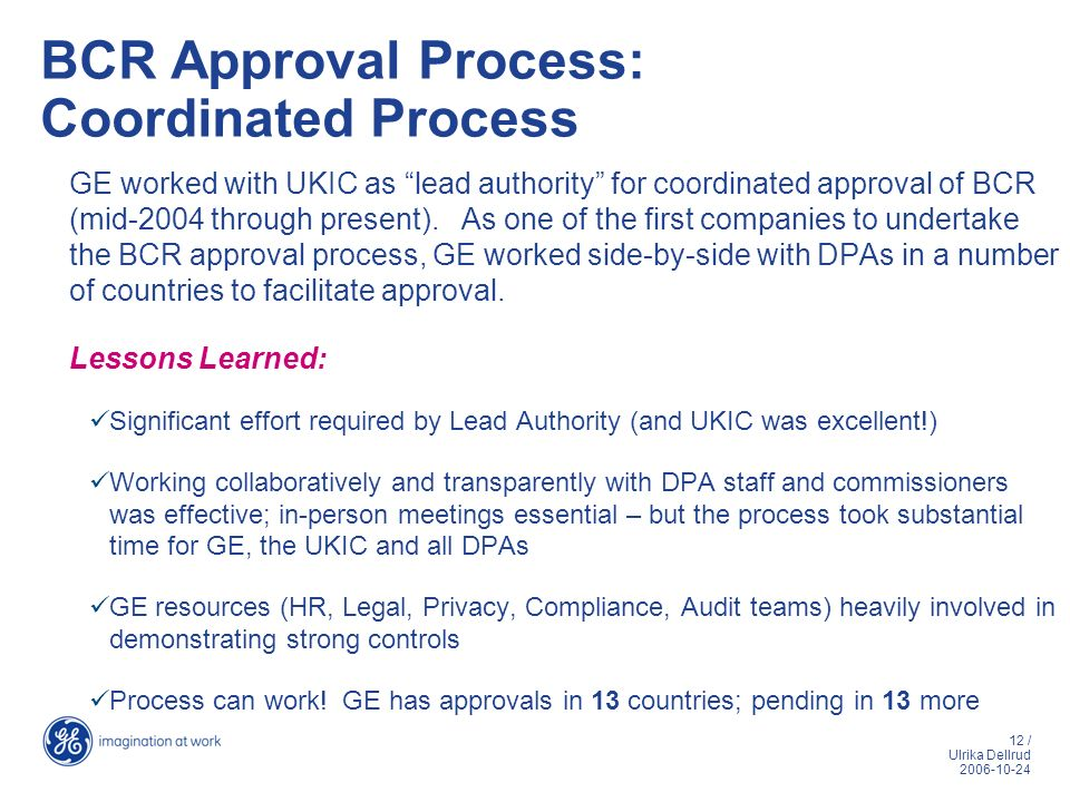 BCR Approval Process: Coordinated Process