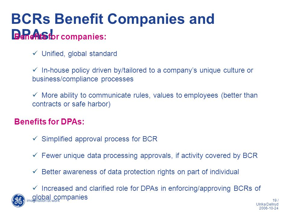 BCRs Benefit Companies and DPAs!