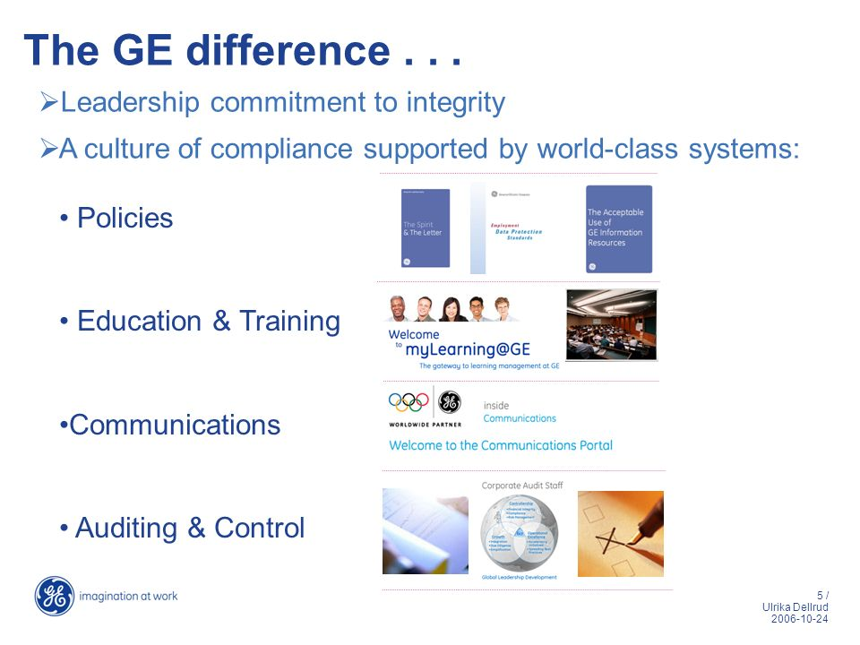 The GE difference . . . Leadership commitment to integrity
