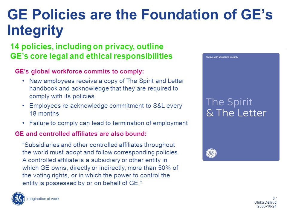 GE Policies are the Foundation of GE's Integrity