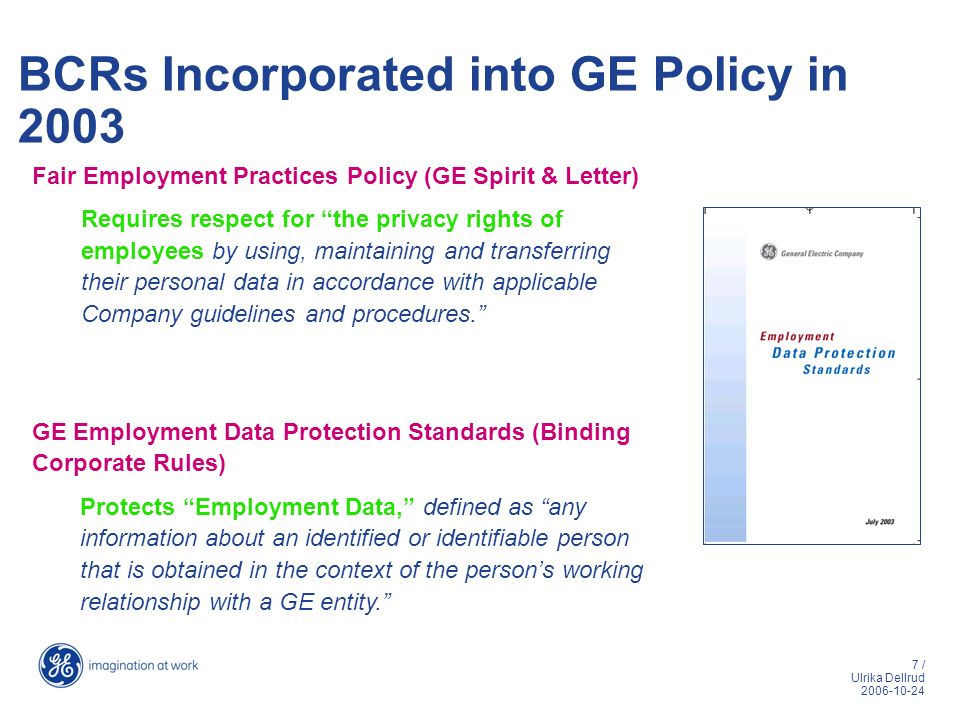 BCRs Incorporated into GE Policy in 2003