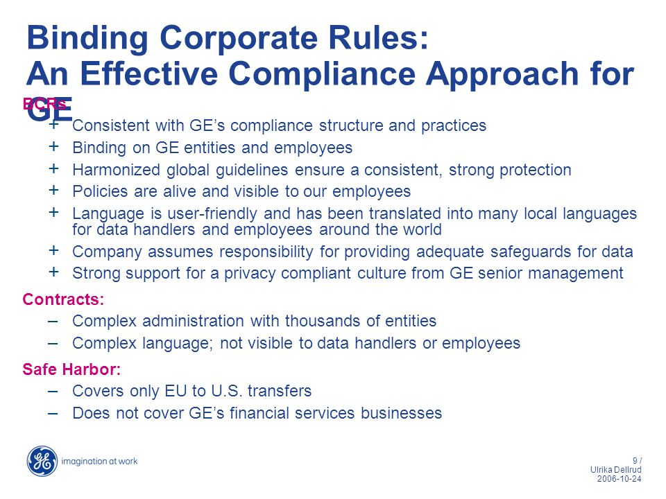 Binding Corporate Rules: An Effective Compliance Approach for GE