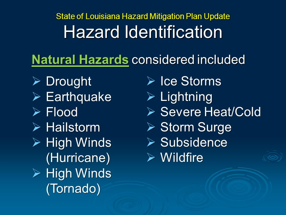 State of Louisiana Hazard Mitigation Plan Update Hazard Identification