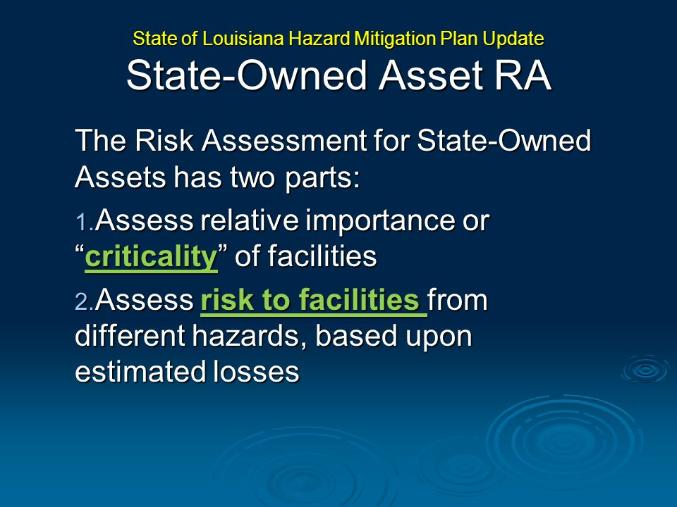 State of Louisiana Hazard Mitigation Plan Update State-Owned Asset RA