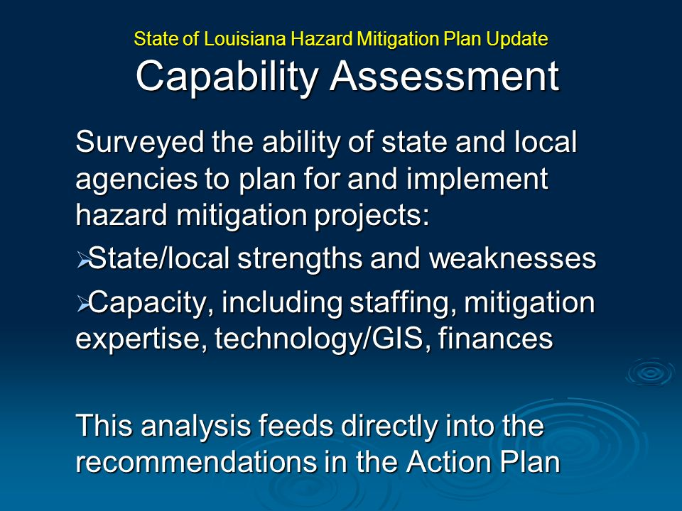 State of Louisiana Hazard Mitigation Plan Update Capability Assessment