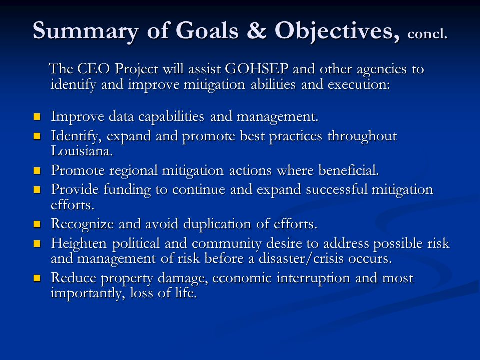 Summary of Goals & Objectives, concl.
