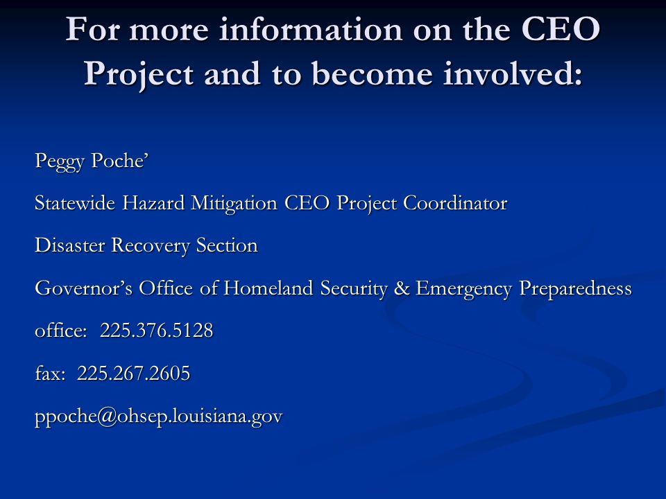 For more information on the CEO Project and to become involved: