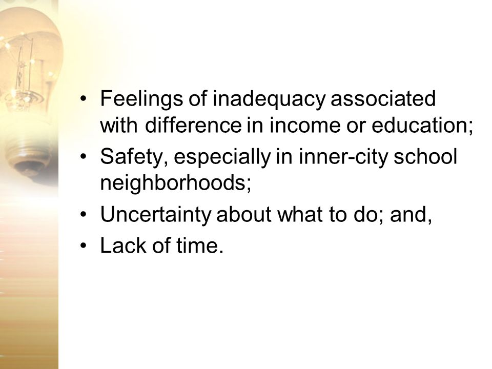 Feelings of inadequacy associated with difference in income or education;