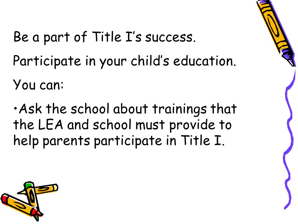 Be a part of Title I's success.
