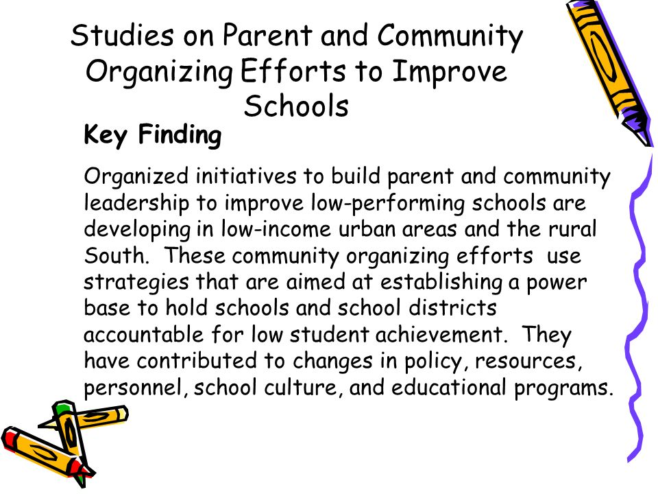 Studies on Effective Strategies to Connect Schools, Families and Community