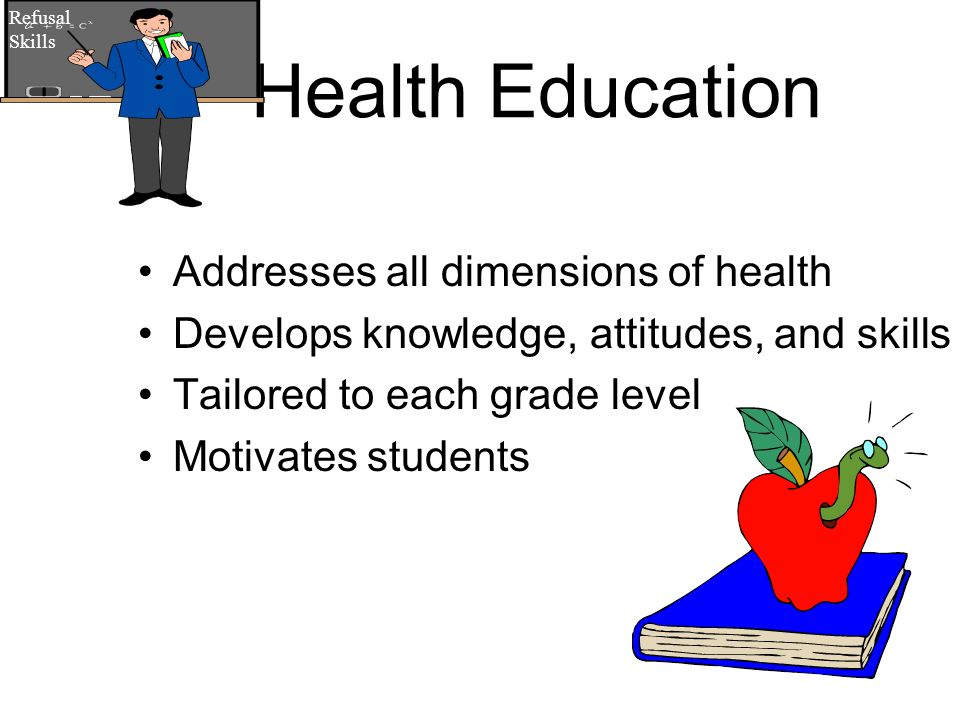 Health Education Addresses all dimensions of health