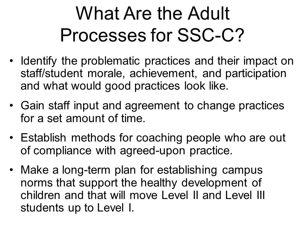 What Are the Adult Processes for SSC-C