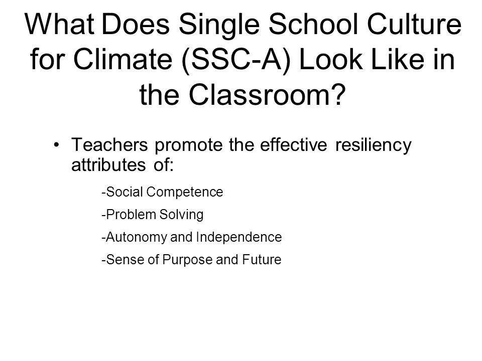 What Does Single School Culture for Climate (SSC-A) Look Like in the Classroom