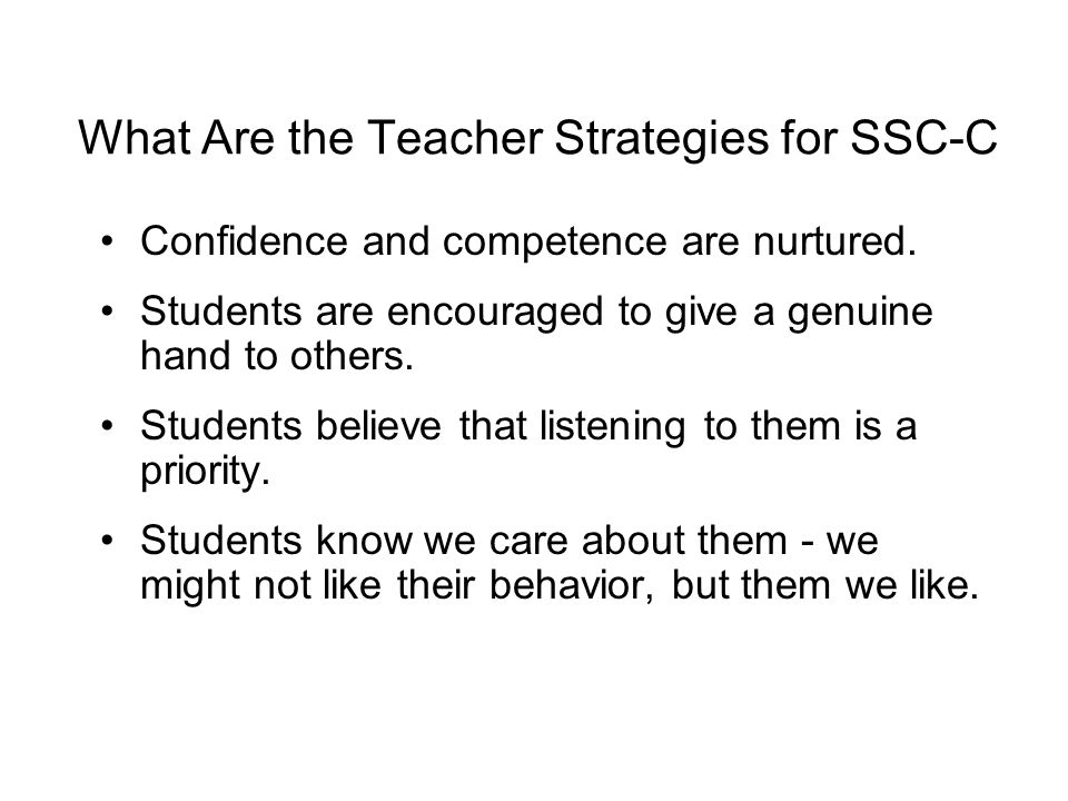 What Are the Teacher Strategies for SSC-C
