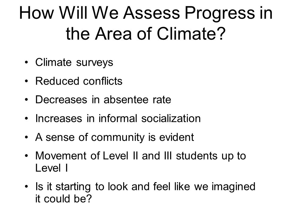 How Will We Assess Progress in the Area of Climate