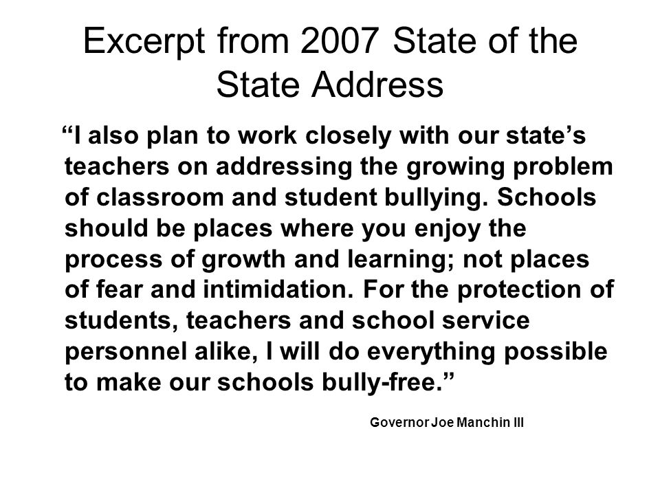 Excerpt from 2007 State of the State Address