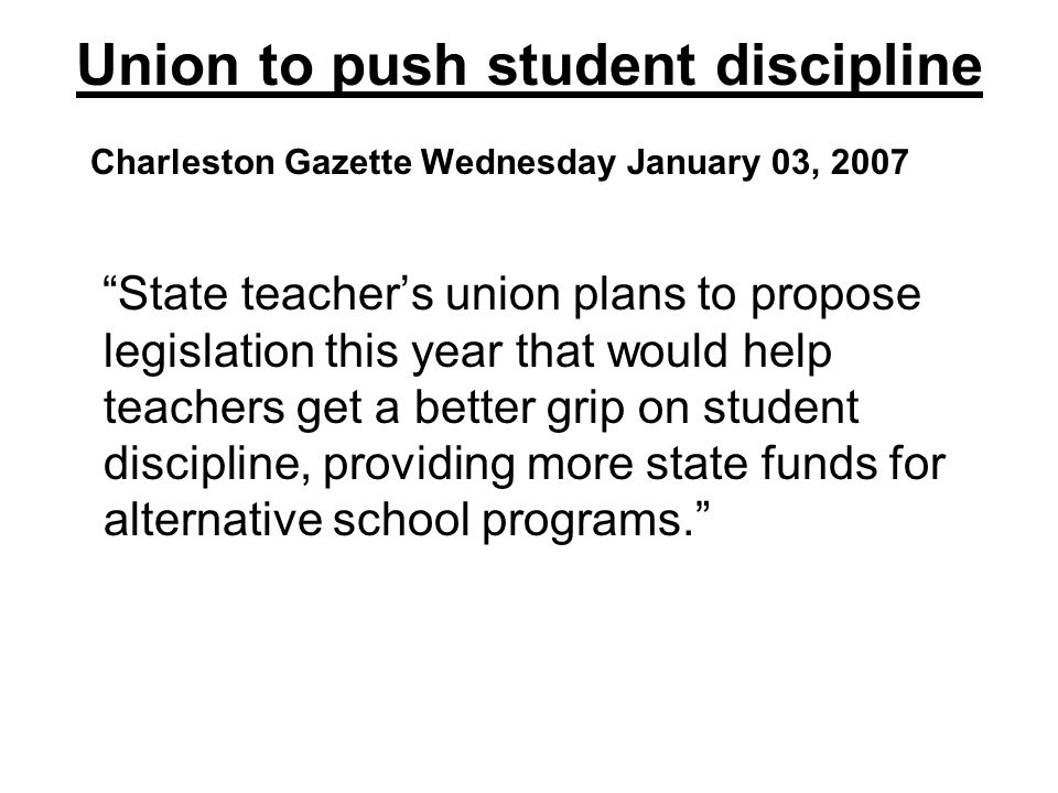 Union to push student discipline