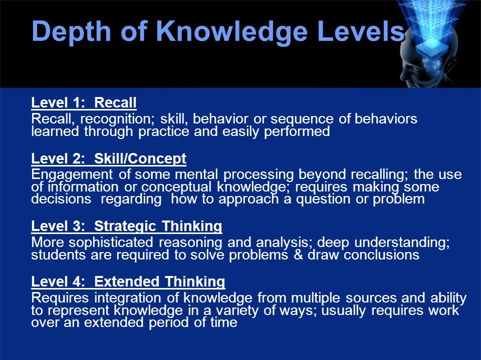 Depth of Knowledge Levels