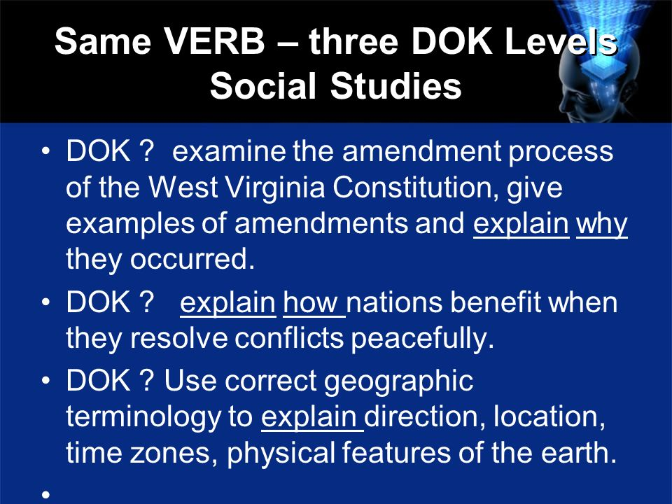 Same VERB – three DOK Levels Social Studies