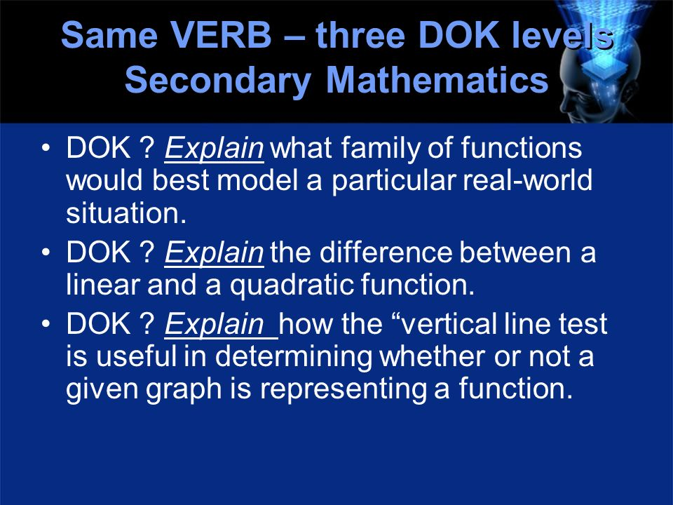 Same VERB – three DOK levels Secondary Mathematics