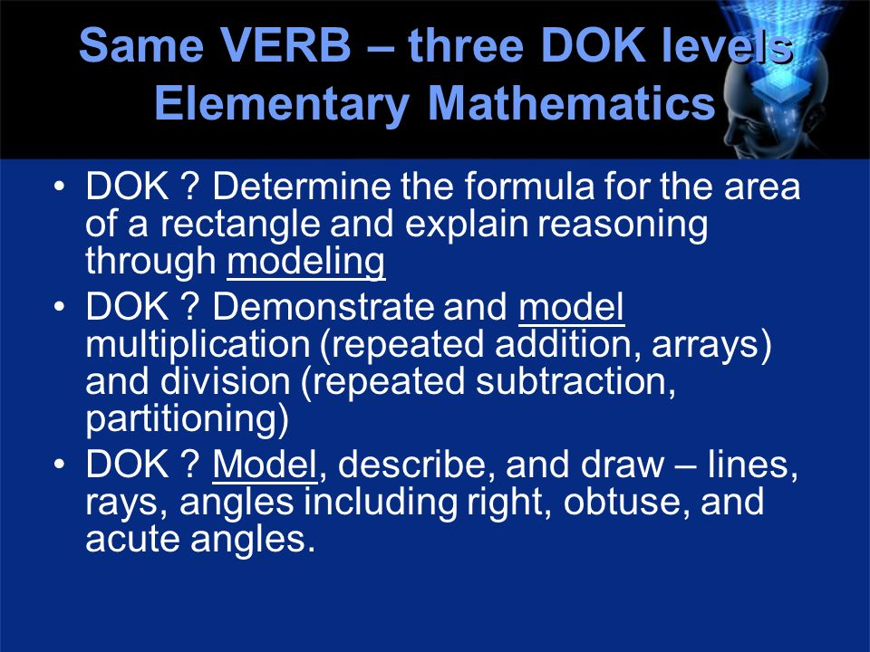 Same VERB – three DOK levels Elementary Mathematics