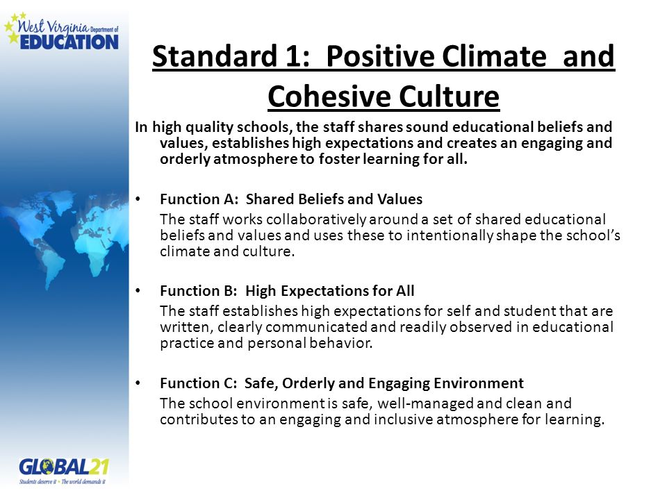 Standard 1: Positive Climate and Cohesive Culture