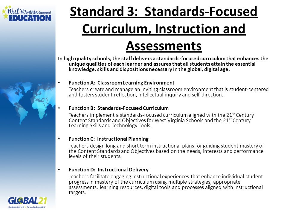 Standard 3: Standards-Focused Curriculum, Instruction and Assessments