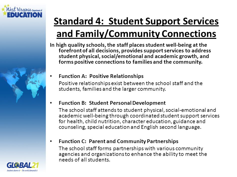 Standard 4: Student Support Services and Family/Community Connections
