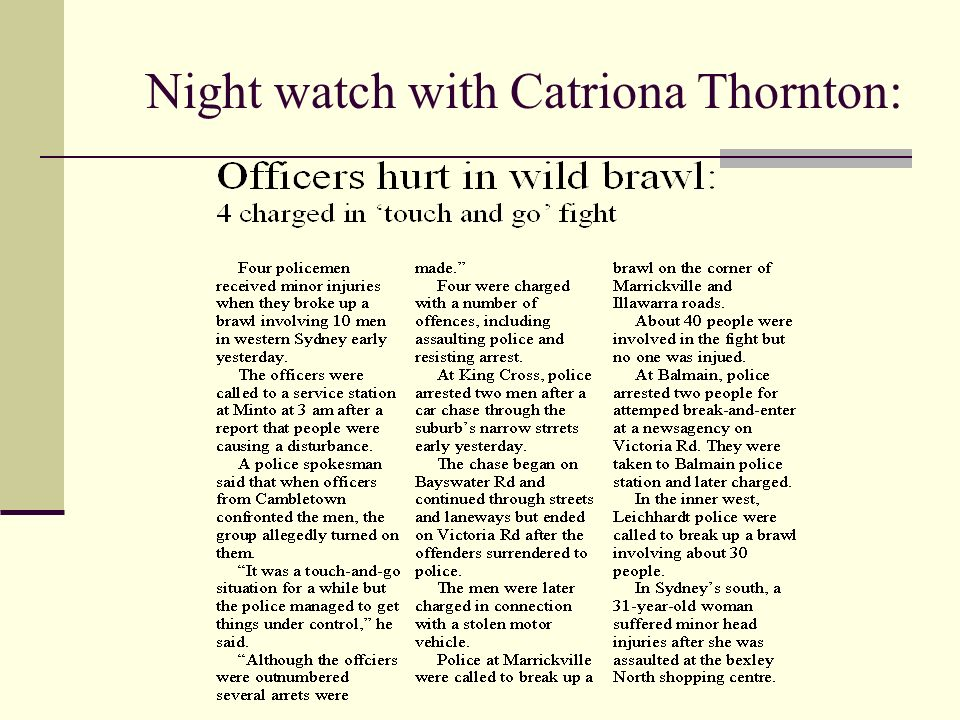 Night watch with Catriona Thornton: