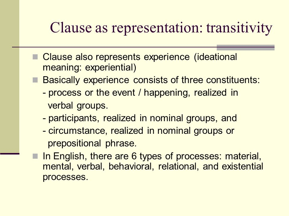 Clause as representation: transitivity