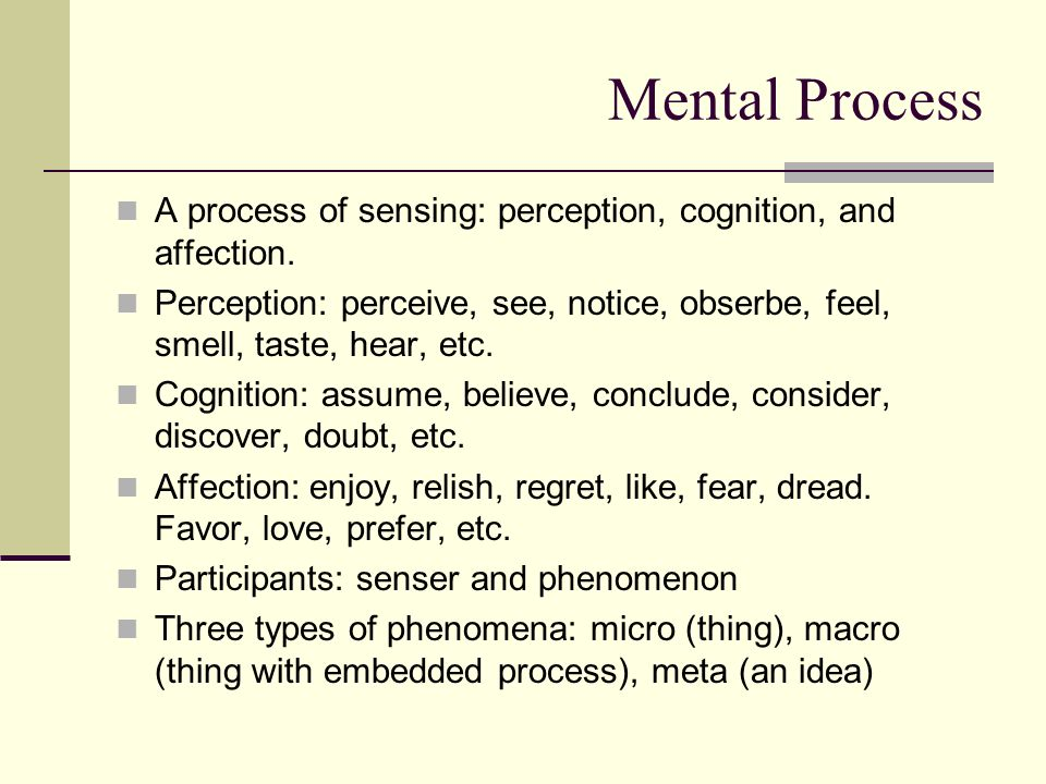 Mental Process A process of sensing: perception, cognition, and affection.